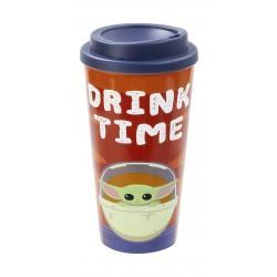 Funko Star Wars Mandalorian: The Child: Plastic Lidded Mug: Drink Time