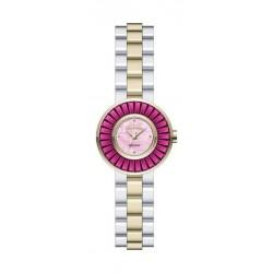ساعة جوفيال للنساء بعرض تناظري وسوار معدني - فضي / ذهبي (9155-LTMQ-08)