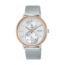 ساعة ألبا المعدنية بعرض تناظري للرجال - ٣٨ ملم - فضي (A3A004X1)
