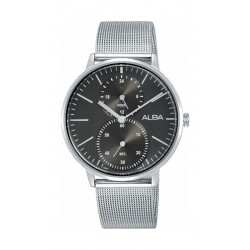ساعة ألبا المعدنية بعرض تناظري للرجال - ٣٨ ملم - فضي (A3A005X1)
