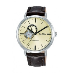 Alba 42mm Analog Gents Leather Watch (A9A007X1) - Black