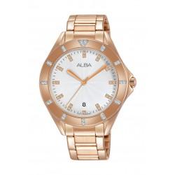 Alba Ladies Fashion 37 mm Analog Metal Watch (AG8H54X1) - Rose Gold