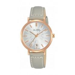ساعة ألبا كوارتز بعرض تناظري وحزام من الجلد للنساء - ٣٢ ملم - فضي (AG8J14X1)