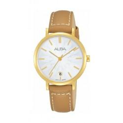 ساعة ألبا كوارتز بعرض تناظري وحزام من الجلد للنساء - ٣٢ ملم - بني (AG8J16X1)