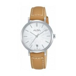 ساعة ألبا كوارتز بعرض تناظري وحزام من الجلد للنساء - ٣٢ ملم - بني (AG8J17X1)