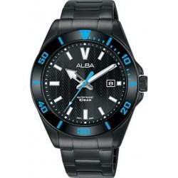ساعة ألبا بعرض تناظري وحزام معدني للرجال - ٤١,٥ ملم - أسود (AG8J29X1)