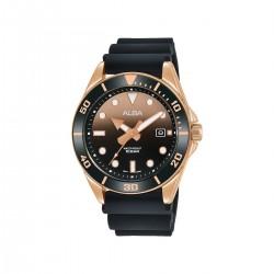 ساعة ألبا أنالوج الرجالية كاجوال سيليكون41 ملم (AG8K20X1) - أسود