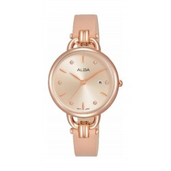 Alba 30mm Analog Ladies Leather Watch (AH7Q42X1) - Rosegold