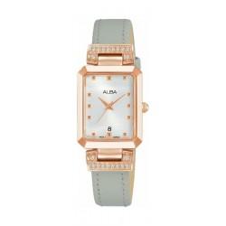 ساعة ألبا كوارتز بعرض تناظري وحزام من الجلد للنساء - ٢١ ملم - فضي (AH7Q90X1)