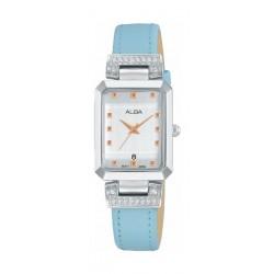 ساعة ألبا كوارتز بعرض تناظري وحزام من الجلد للنساء - ٢١ ملم - أزرق (AH7Q91X1)