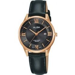 ساعة ألبا بعرض تناظري وحزام من الجلد للنساء - ٣٠ ملم - أسود (AH7R38X1)