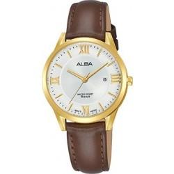 ساعة ألبا للسيدات بنظام عرض تناظري وحزام من الجلد - ٣٠ ملم - بني (AH7R40X1)