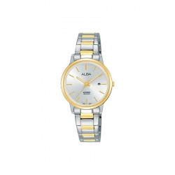 ساعة ألبا بعرض تناظري وحزام معدني للرجال - ٢٨ ملم - فضي / ذهبي (AH7R52X1)