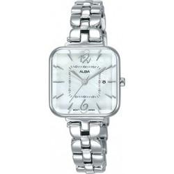 ساعة ألبا بعرض تناظري وحزام معدني للنساء - ٢٥ ملم - فضي (AH7R69X1)
