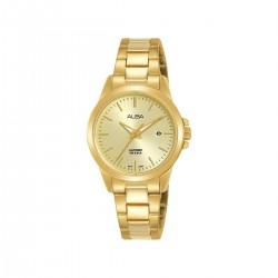 ساعة ألبا بعرض تناظري وحزام معدني للنساء - 29 ملم - (AH7S40X1)- ذهبي