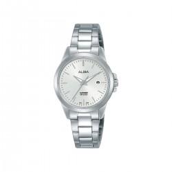 ساعة ألبا بعرض تناظري وحزام معدني للنساء - 29 ملم - (AH7S47X1)- فضي