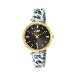 ساعة ألبا النسائية بعرض تناظري وحزام معدني - ٣٠ ملم - (AH7S62X1)