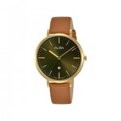 ساعة ألبا أنالوج جلد 34مم نسائية   (AH7T28X1) - بني