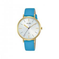 ساعة ألبا أنالوج جلد  34 مم نسائية (AH7T30X1) - أزرق