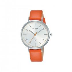 ساعة ألبا أنالوج جلد 34مم نسائية (AH7T31X1) - برتقالي