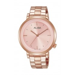 ساعة ألبا العصرية للسيدات بنظام عرض تناظري - ٣٧ ملم - بحزام معدني - وردي مذهب - (AH8382X1)