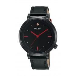 ساعة ألبا العصرية للسيدات بنظام عرض تناظري - ٣٧ ملم - بحزام من الجلد - أسود - (AH8389X1)