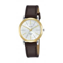 ساعة ألبا للسيدات بنظام عرض تناظري وسوار جلدى - ٢٨ ملم - بني (AH8420X1)