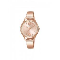 ساعة ألبا بعرض تناظري وحزام معدني للنساء - ٣٠ ملم - وردي - ذهبي (AH8510X1)