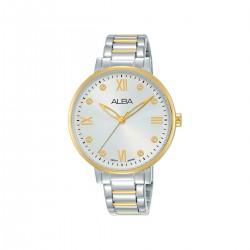 ساعة ألبا بعرض تناظري وحزام معدني للنساء - 36 ملم - (AH8662X1) فضي\ذهبي