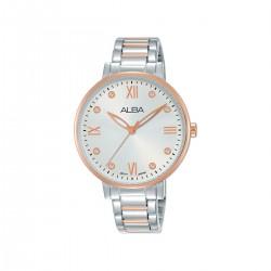ساعة ألبا بعرض تناظري وحزام معدني للنساء - 36 ملم - (AH8664X1) فضي-وردي