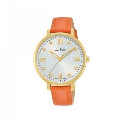 ساعة ألبا النسائية بعرض تناظري وحزام من الجلد - 36 ملم - (AH8666X1) برتقالي
