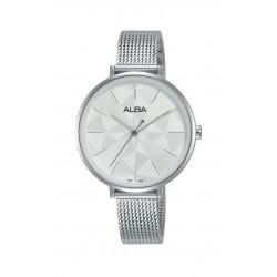 ساعة ألبا النسائية بعرض تناظري وحزام معدني - ٣٤ ملم - (AH8677X1)