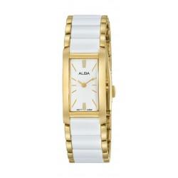 ساعة ألبا العصرية للسيدات بنظام عرض تناظري - ١٧.٥ ملم - بحزام معدني - أبيض/ ذهبي - (AJ5042X1)
