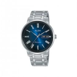ساعة ألبا بعرض تناظري وحزام معدني للرجال - 40 ملم - (AL4127X1)- فضي