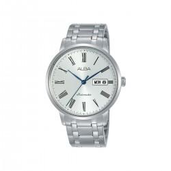 ساعة ألبا بعرض تناظري وحزام معدني للرجال - 40 ملم - (AL4131X1) - فضي
