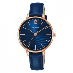 Alba 32mm Ladies Analog Quartz Watch Blue patterned dial Stainless steel case Blue leather strap