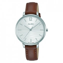Alba 32mm Ladies Analog Watch Silver pattern dial Stainless steel case Brown leather strap