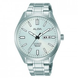 Alba 42mm Men's Analog Watch Silver white dial Stainless steel