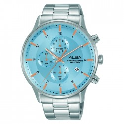 Alba 44mm Men's Chronograph Watch Light blue dial Stainless steel case and bracelet