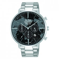 Alba 44mm Men's Chronograph Watch Stainless steel Curved mineral crystal