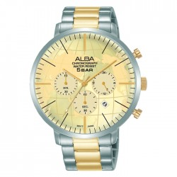 Alba 44mm Men's Chronograph Watch Light champagne dial Stainless steel