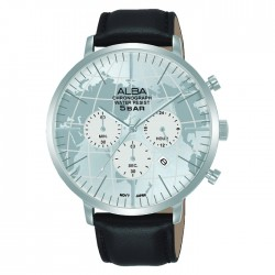 Alba 44mm Men's Chronograph Watch Stainless steel case Black leather strap