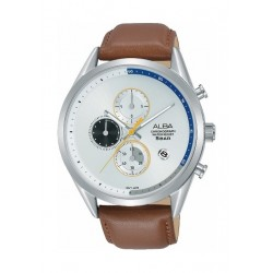 Alba 43mm Chronograph Gent's Leather Watch (AM3573X1) - Brown