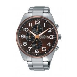 ساعة ألبا للرجال بعرض كرونوغراف وحزام معدني - AM3201X1
