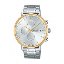 ساعة ألبا للرجال بعرض كرونوغراف وحزام معدني - فضي (AM3354X1)
