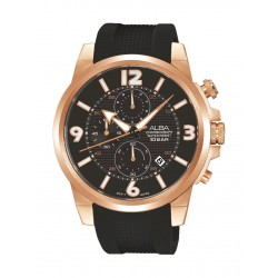 ساعة ألبا الرياضية للرجال بعرض كرونوغراف وسوار مطاط (AM3368X1)