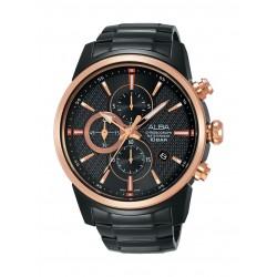 ساعة ألبا الرياضية للرجال بعرض كرونوغراف وحزام معدني - AM3448X1