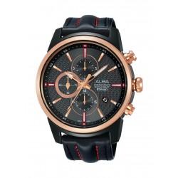 ساعة ألبا الرياضية للرجال بعرض كرونوغراف وحزام من الجلد - AM3456X1