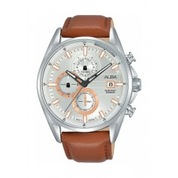 Alba Quartz 43mm Chronograph Gent's Leather Sports Watch (AM3585X1) - Brown