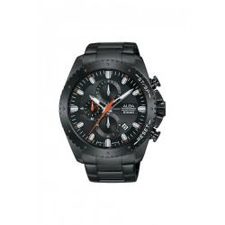 ساعة ألبا بعرض كرونوغراف وحزام معدني للرجال - ٤٥ ملم - أسود (AM3633X1)